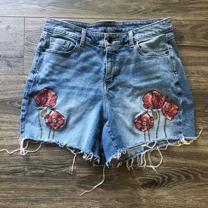 Lane Bryant Floral Embroidered Poppy Jean Shorts